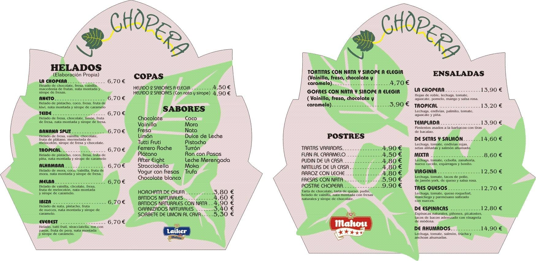 Carta de helados, postres y copas La Chopera