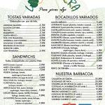 TOSTAS, SANDWICHS, BOCADILLOS Y BARBACOA